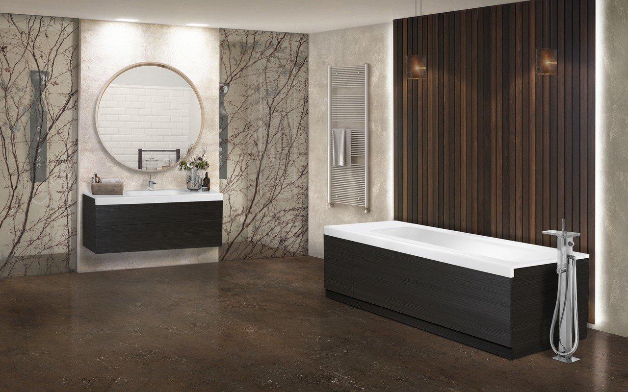 Неоклассика каменная ванна с деревянными панелями Pure 2D