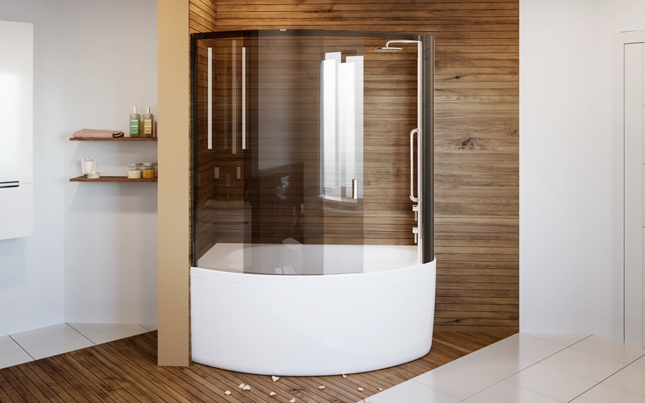 Aquatica Anette A R Shower Tinted Curved Glass Shower Cabin