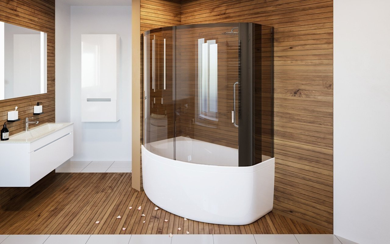Aquatica Anette-B-R Shower Tinted Curved Glass Shower Cabin