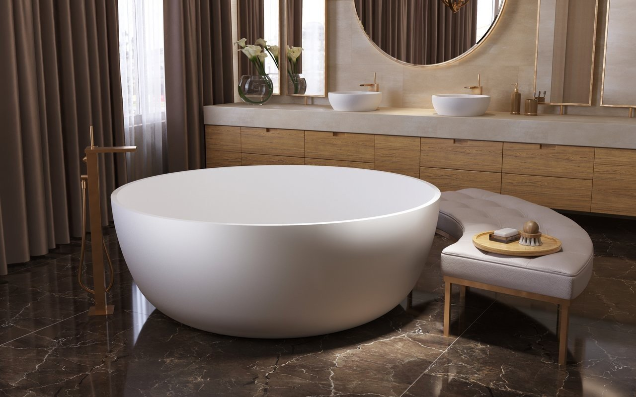 Aquatica adelina round freestanding solid surface bathtub