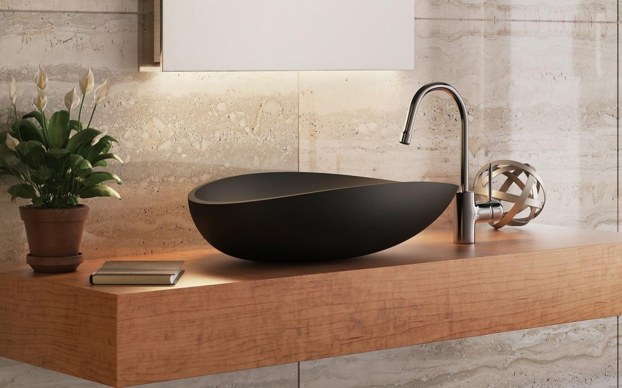 Aquatica Lotus Blck Stone Bathroom
