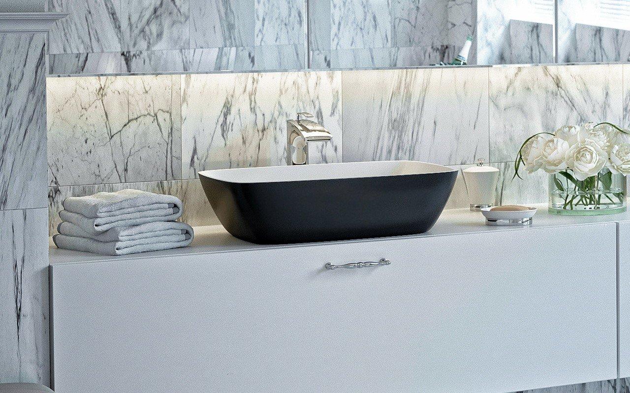 Aquatica Arabella-Blck-Wht™ Stone Bathroom Vessel Sink
