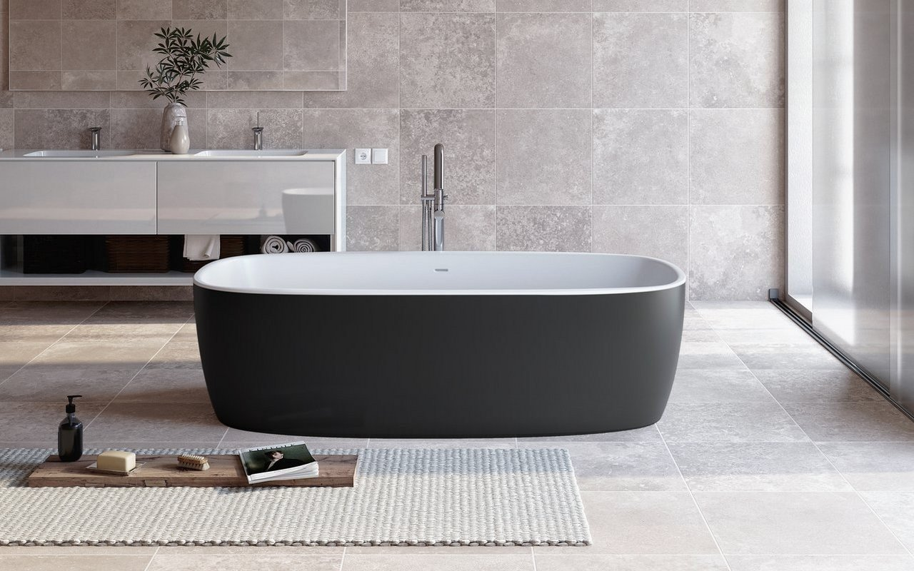 Aquatica Coletta-Blck-Wht™ Freestanding Solid Surface Bathtub picture № 0