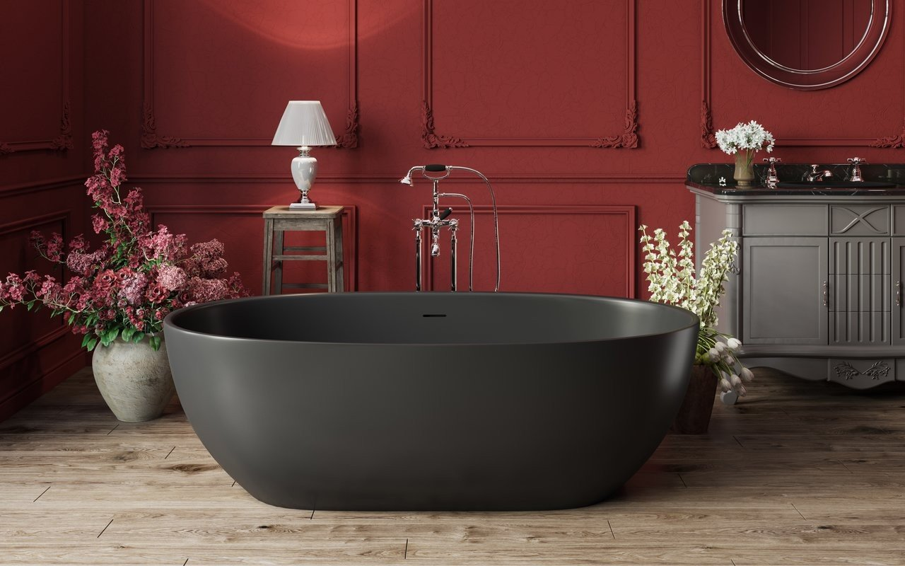Aquatica Corelia-Black™ Freestanding Solid Surface Bathtub picture № 0