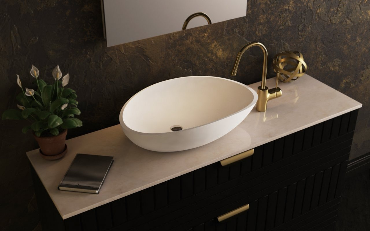 Aquatica Lotus-Wht Stone Bathroom Vessel Sink picture № 0
