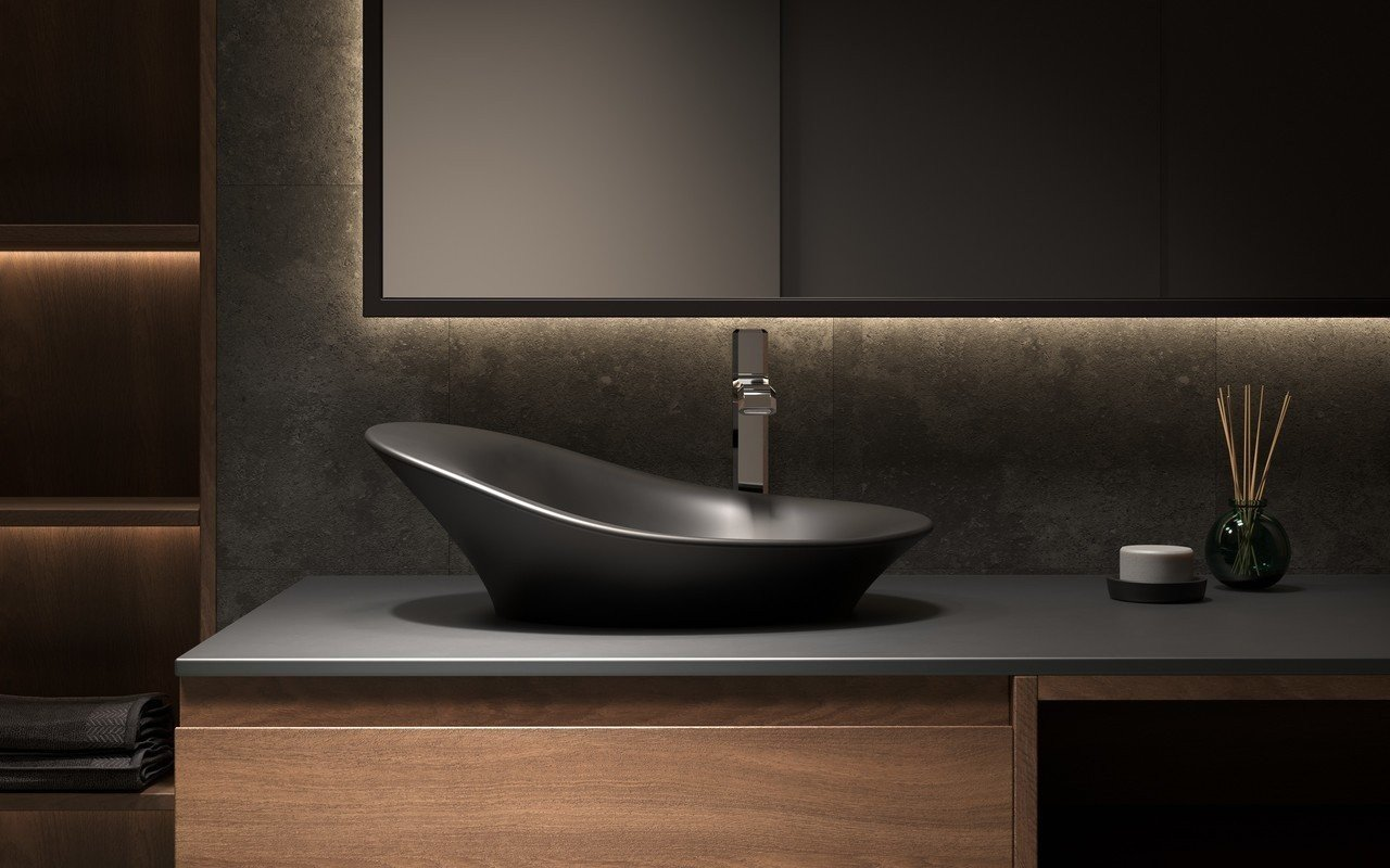 Aquatica Nanomorph-Blck Stone Bathroom Vessel Sink picture № 0