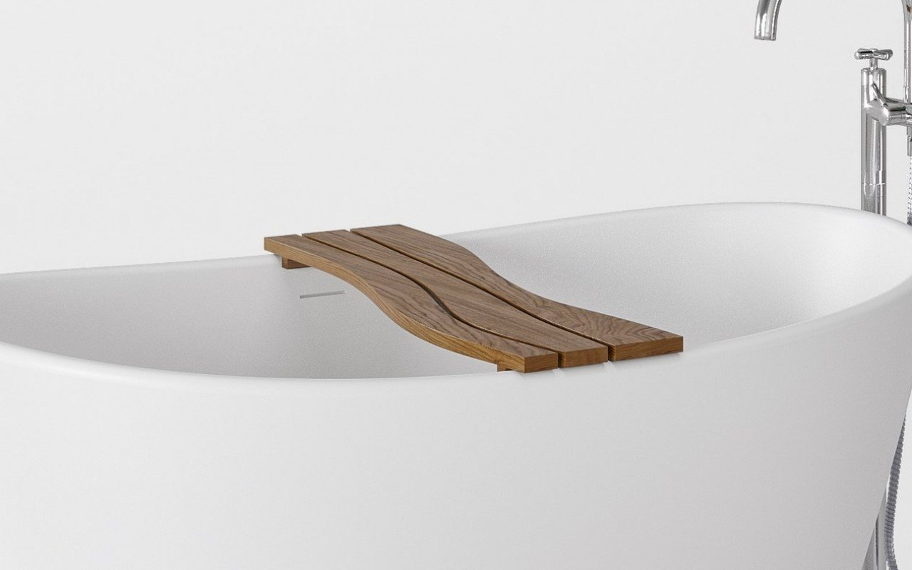 Aquatica Onde Waterproof Teak Bathtub Tray