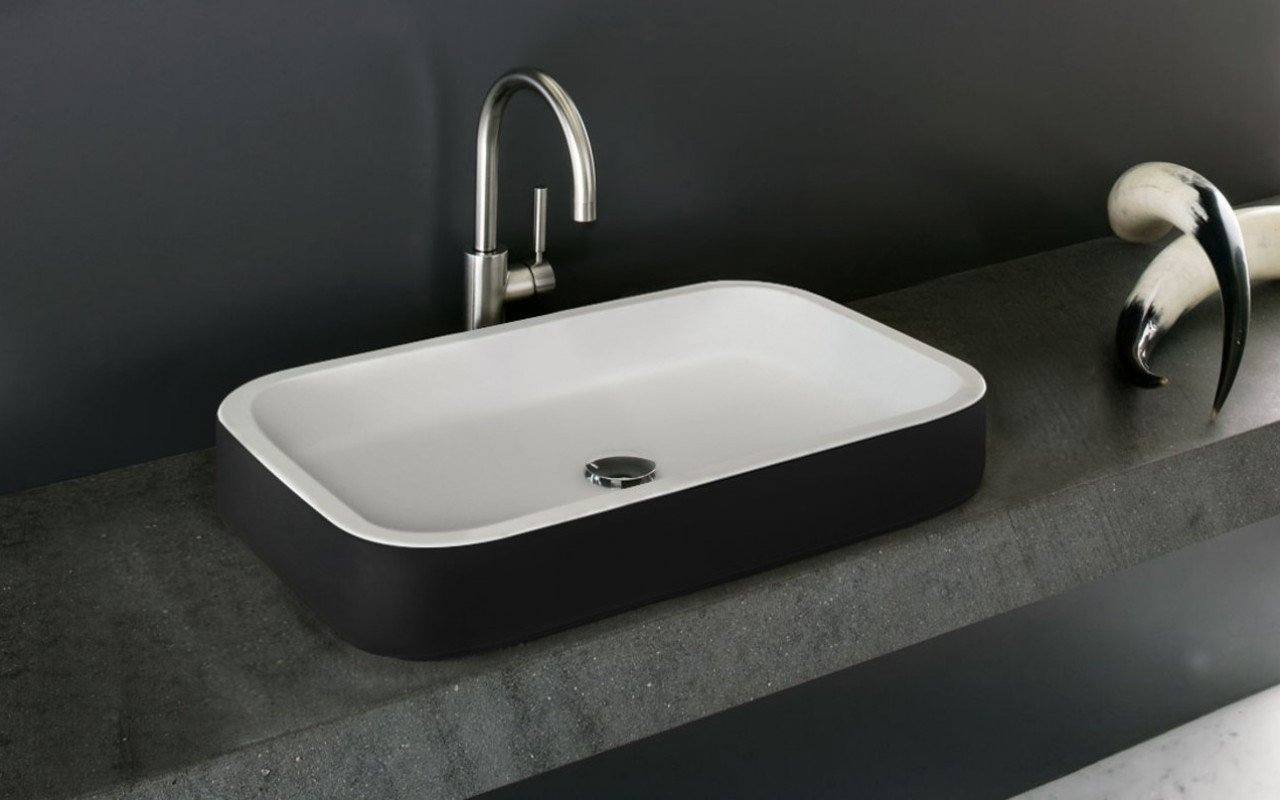 Aquatica Solace-A-Blck-Wht Rectangular Stone Bathroom Vessel Sink picture № 0