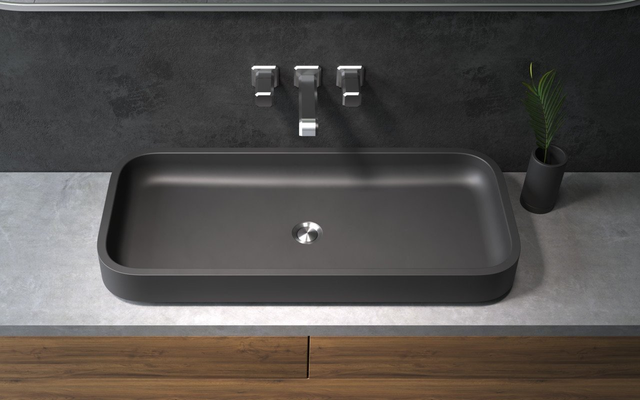 Aquatica Solace-B-Blck Rectangular Stone Bathroom Vessel Sink picture № 0