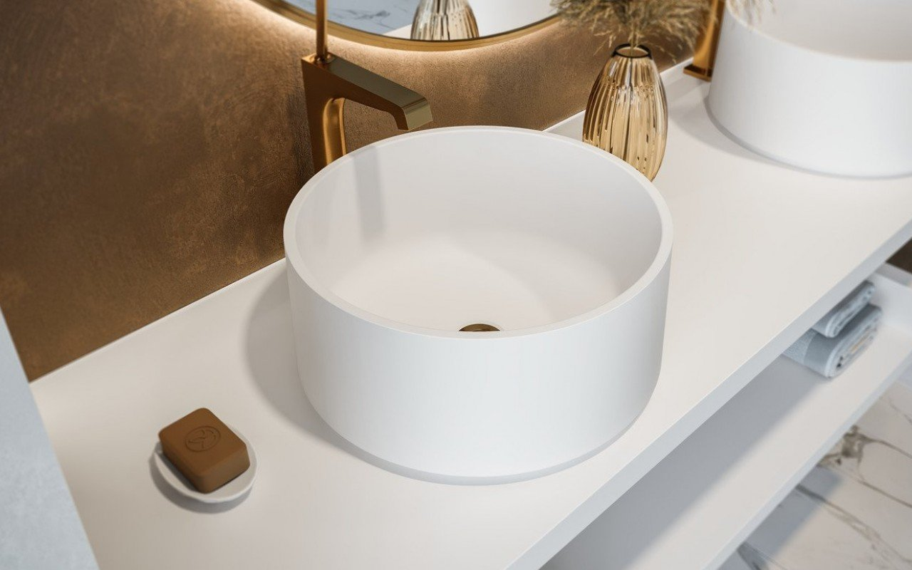 Aquatica Solace-B-Wht Round Stone Bathroom Vessel Sink picture № 0