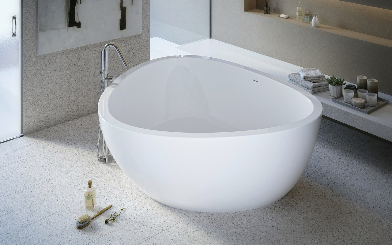 Aquatica Trinity-Wht Freestanding Light Weight Stone Bathtub - High ...