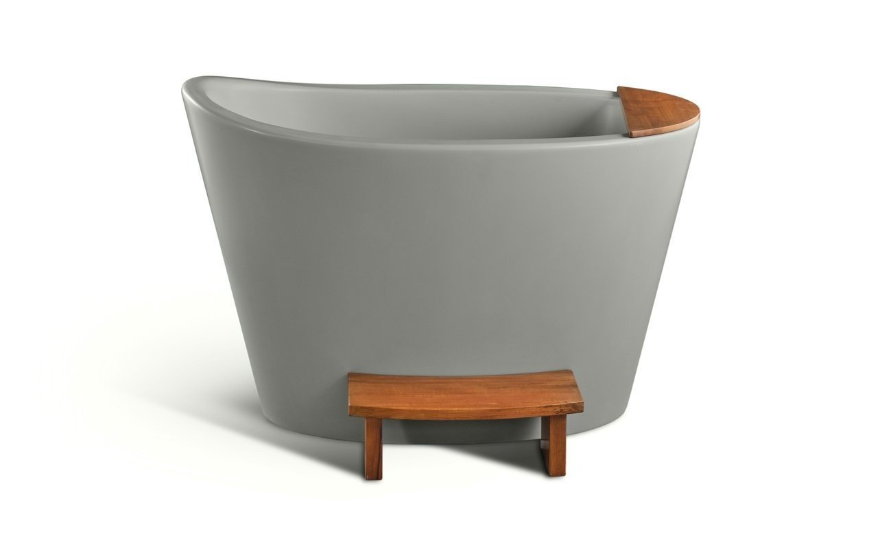 Aquatica True Ofuro Sleek Concrete Freestanding Stone Japanese Soaking Bathtub picture № 0