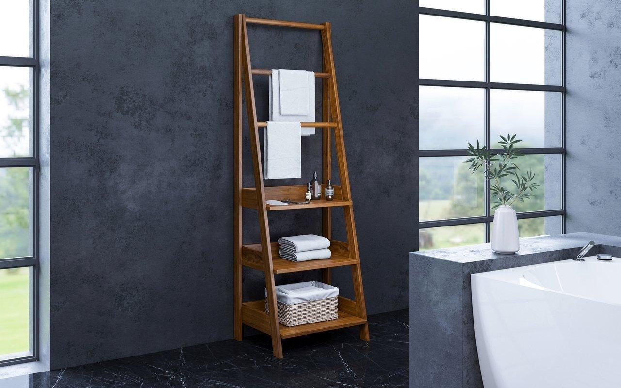 ᐈ Aquatica Universal 70 75 Waterproof Iroko Wood Bathroom Ladder Shelf Buy Online Best Prices
