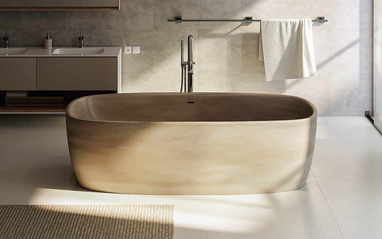Aquatica Coletta™ Sandstone Freestanding Solid Surface Bathtub