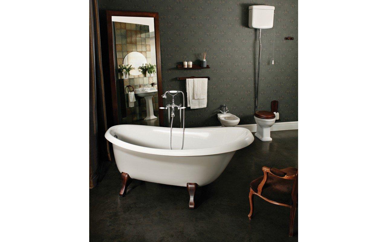 Aquatica Nostalgia-Wht-Ash-Legs™ Freestanding Cast Stone Bathtub