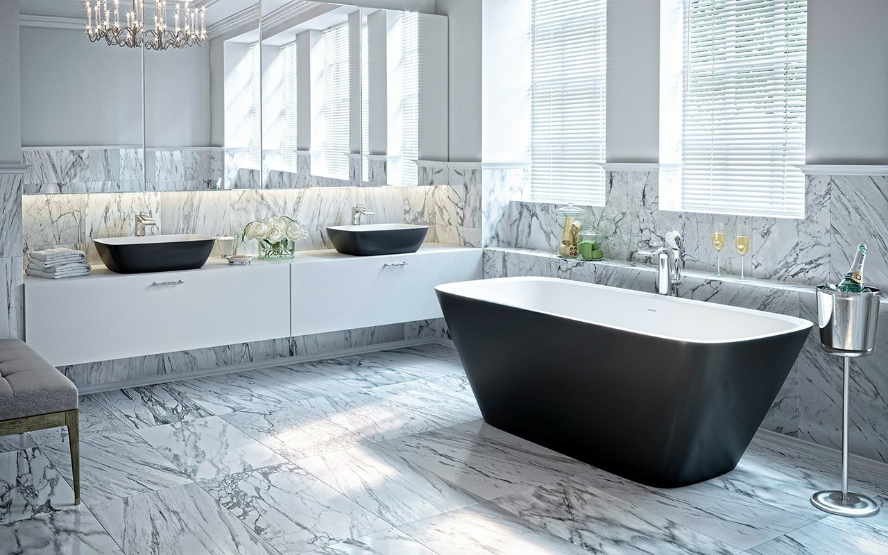 Aquatica Arabella-Blck-Wht™ Freestanding Solid Surface Bathtub