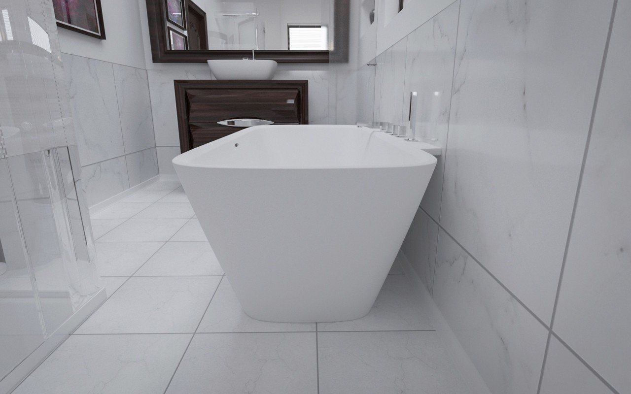 Arabella Wall Stone Bathtub 3D 4