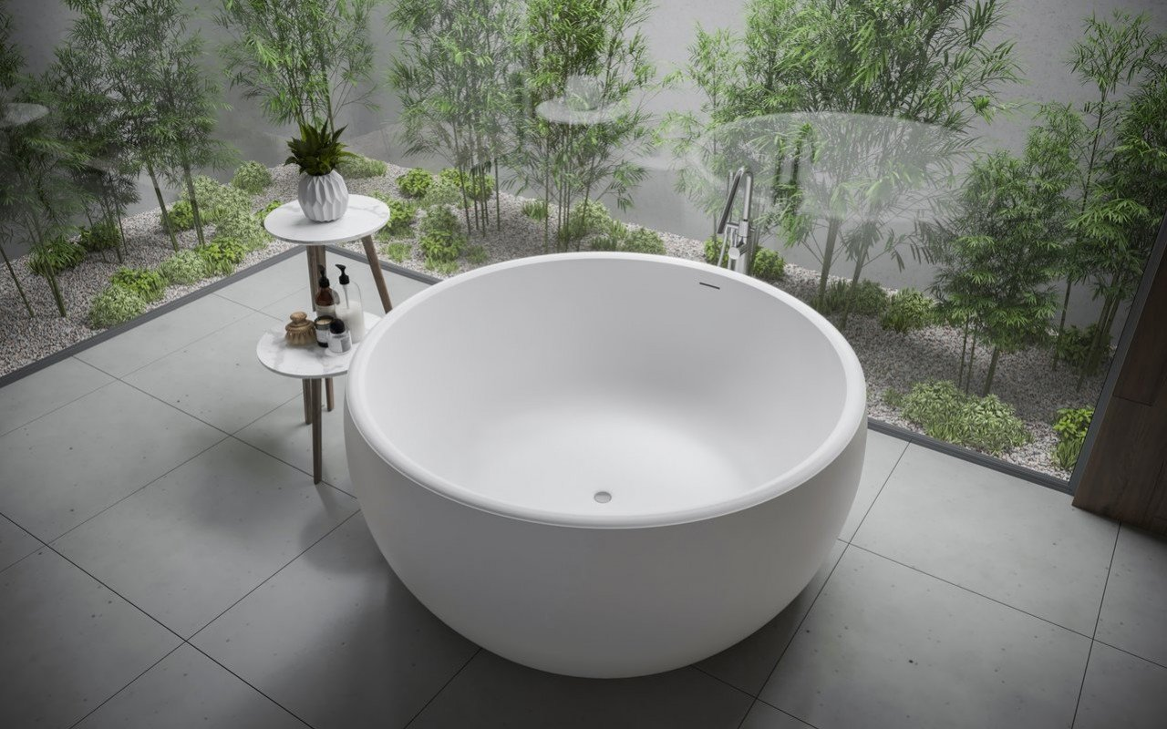 Aquatica Aura Mini Round Freestanding Solid Surface Bathtub picture № 0
