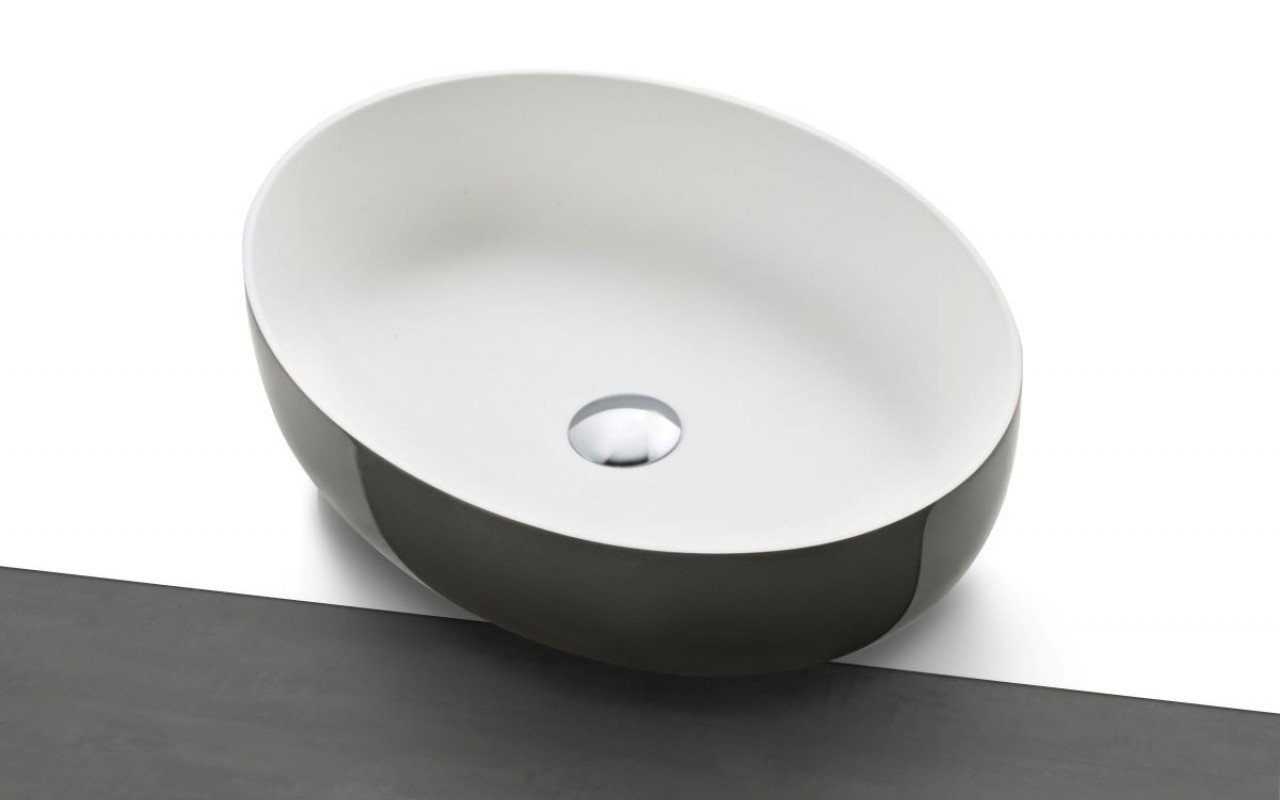Aquatica Aurora-Gunmetal-Wht Supergloss Oval Stone Bathroom Vessel Sink picture № 0