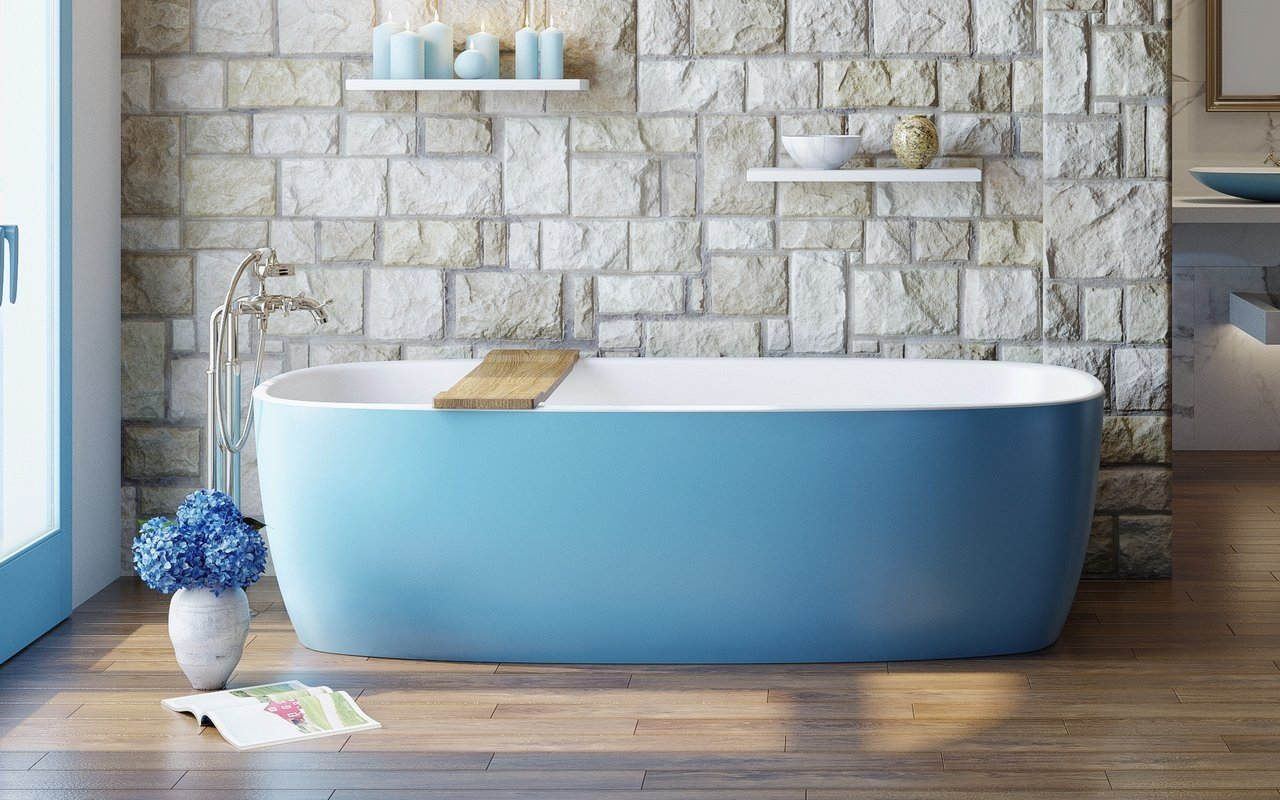 Aquatica Coletta™ Jaffa Blue-Wht Freestanding Solid Surface Bathtub picture № 0