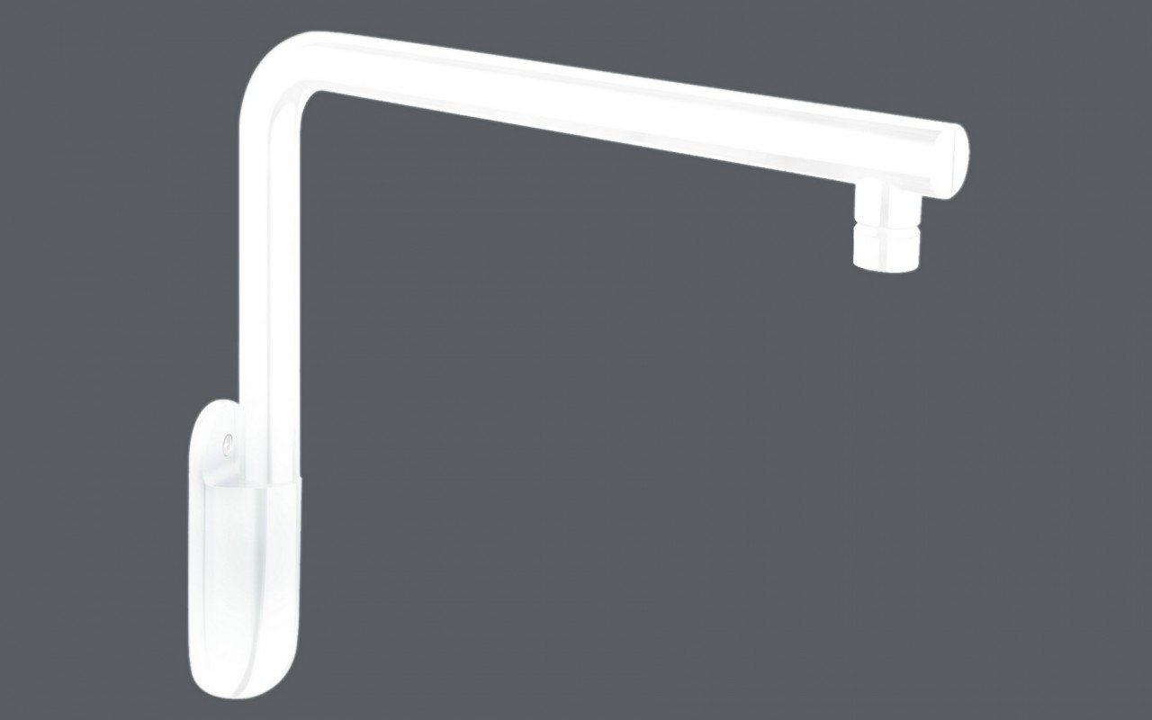 Aquatica Short Wall-Mounted Shower Arm - White Matte picture № 0