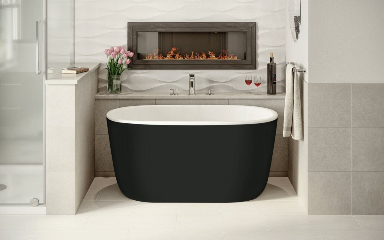 Aquatica lullaby nano blck wht small freestanding solid surface bathtub