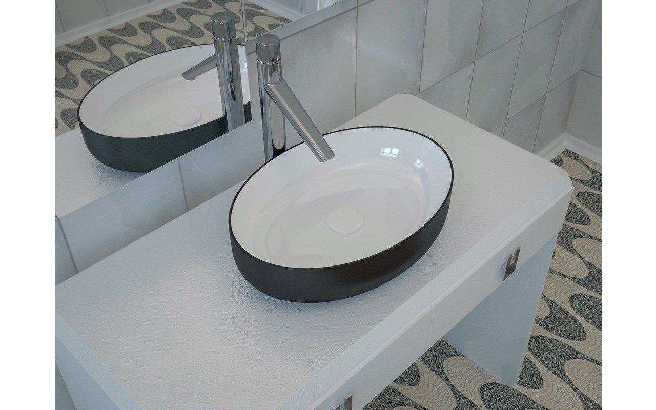 ᐈluxury Aquatica Metamorfosi Blck Wht Oval Ceramic Bathroom Vessel Sink Best Prices Aquatica