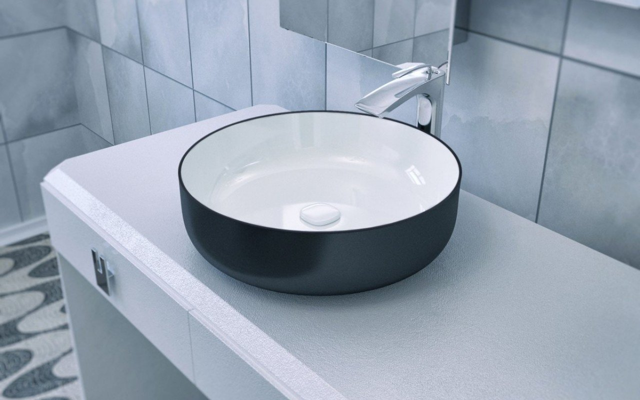 Aquatica Metamorfosi-Black-Wht Round Ceramic Bathroom Vessel Sink