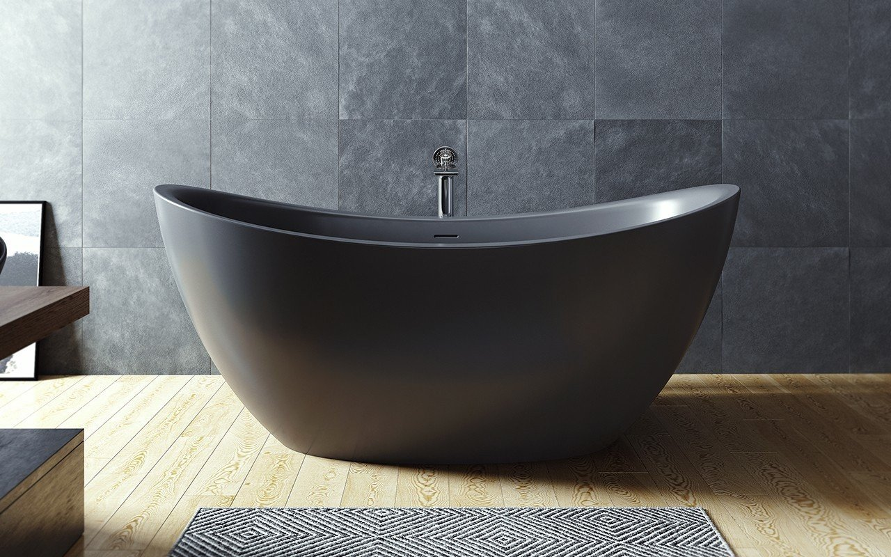 ᐈluxury Aquatica Purescape 171 Black Freestanding Solid Surface Bathtub Best Prices Aquatica