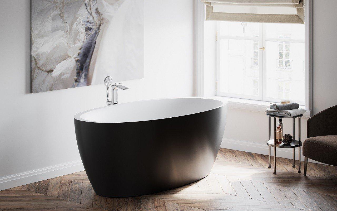 Aquatica Sensuality™ Black-Wht Freestanding Solid Surface Bathtub