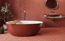 Spoon 2 RAL3009 Freestanding Egg Shaped Solid Surface Bathtub 1 (web)