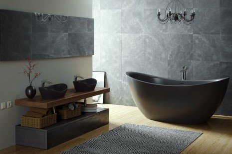 Purescape 171 Black Freestanding Slipper Bathtub 03