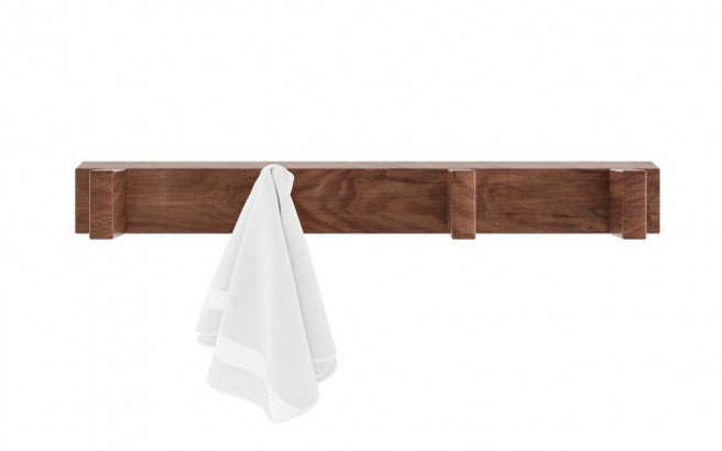 Aquatica Universal 19.75 Waterproof 4 Hook Wall Mounted American Walnut Wood Rack01