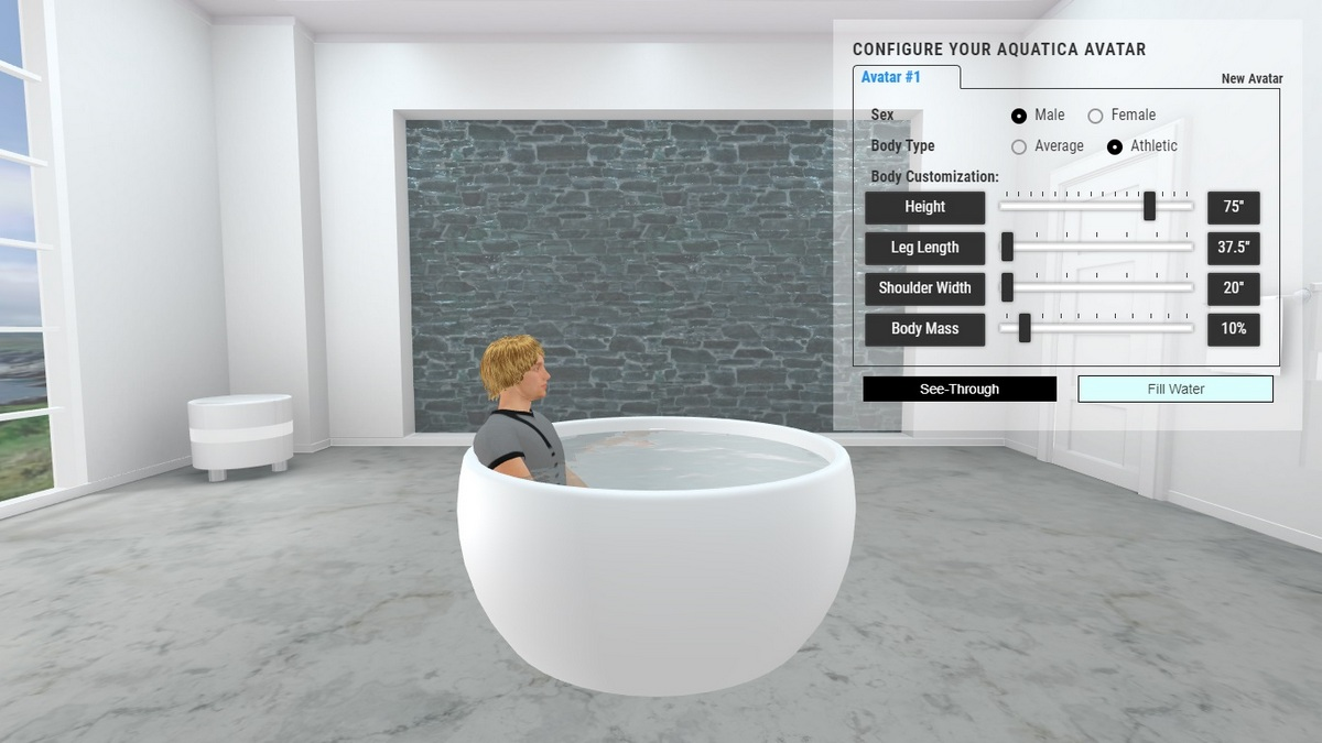 Aura Bathtub 3D Body Position