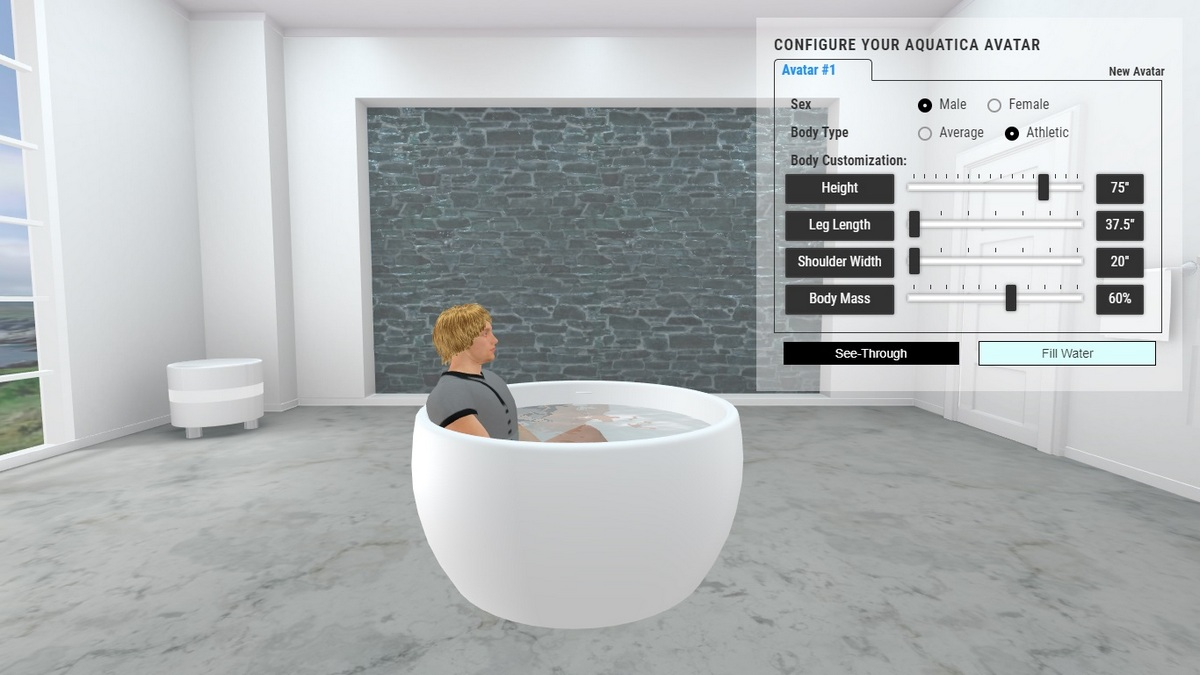 Aura Mini Bathtub 3D Body Position