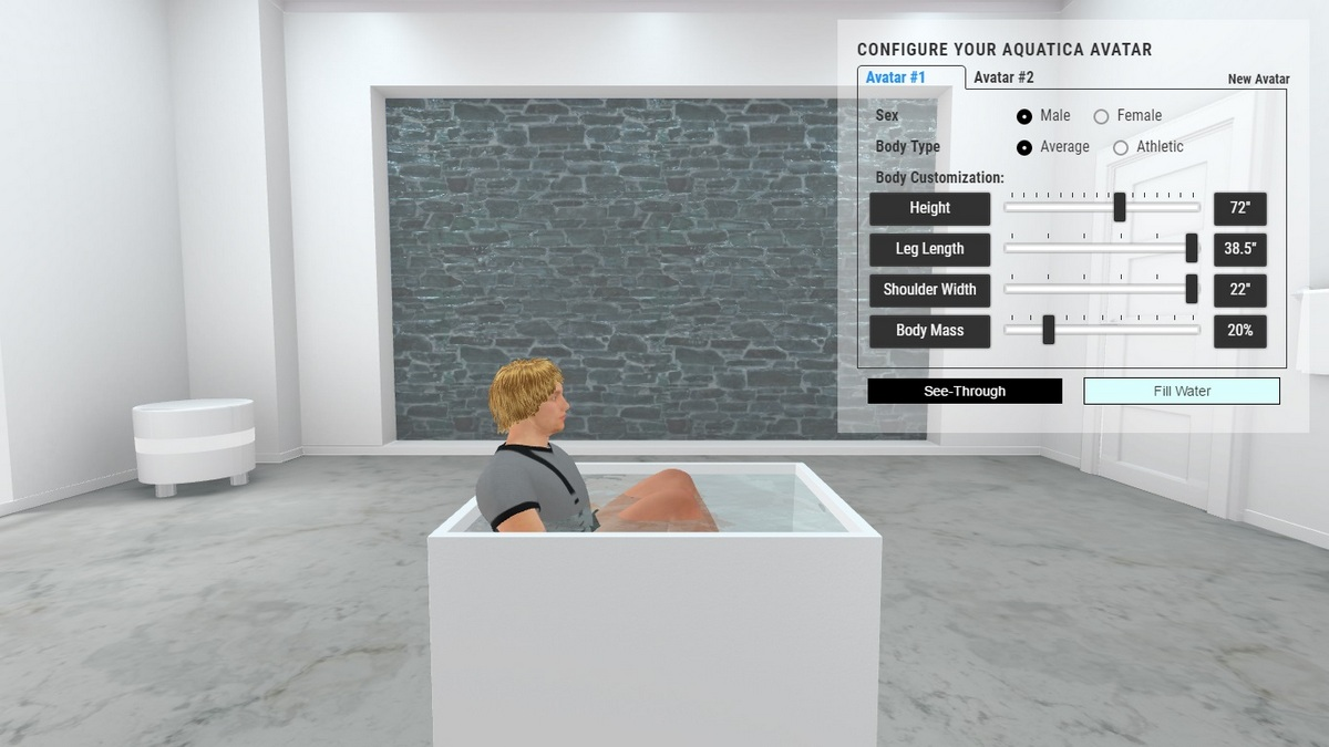 Claire freestanding stone bathtub 3D Body Position