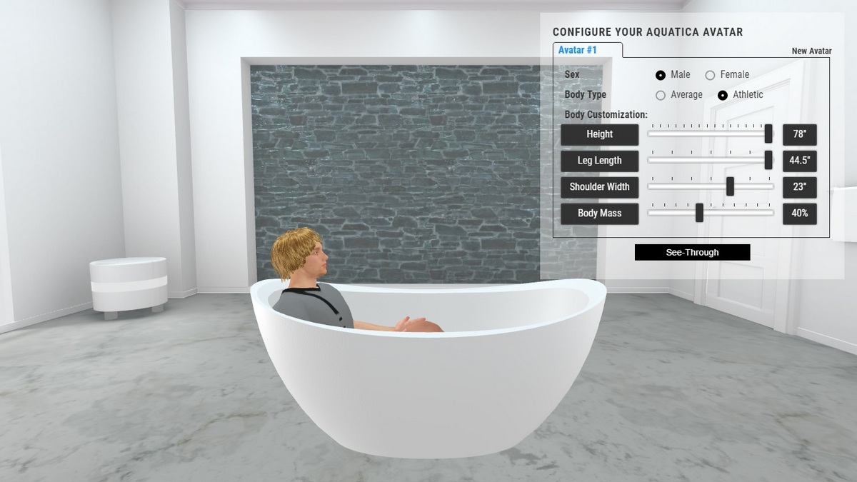 Purescape 171 Bathtub 3D Body Position