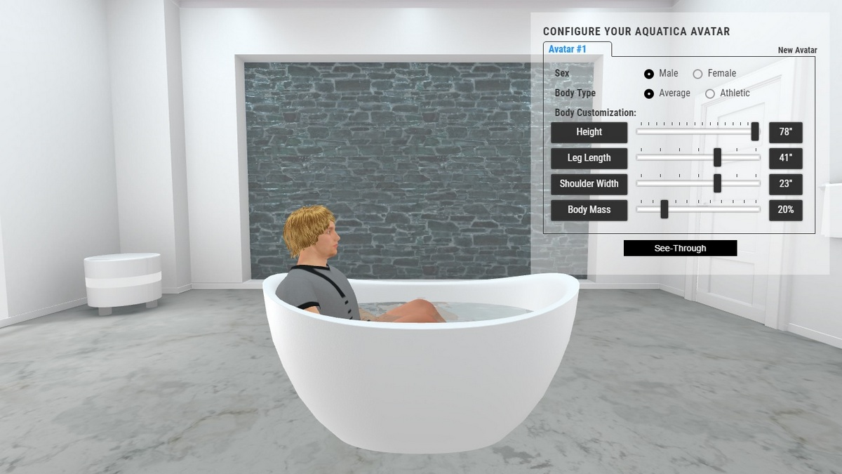 Purescape 171 Mini Bathtub 3D Body Position